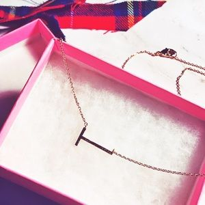 """Gold Small Letter """"T"""" Necklace. Alphabet Necklace"""